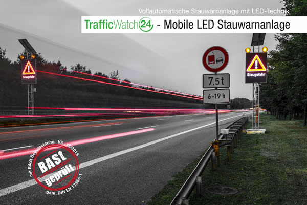 Mobile LED Stauwarnanlage